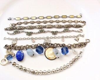Junk lot assorted chain bracelets chains bracelets craft supplies assemblage altered art steampunk project 7 pieces R15