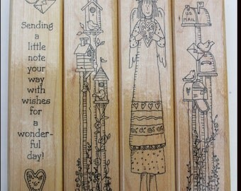 Not So Short Notes rubber stamp set of 4 from Stampin Up retired Wood mounted