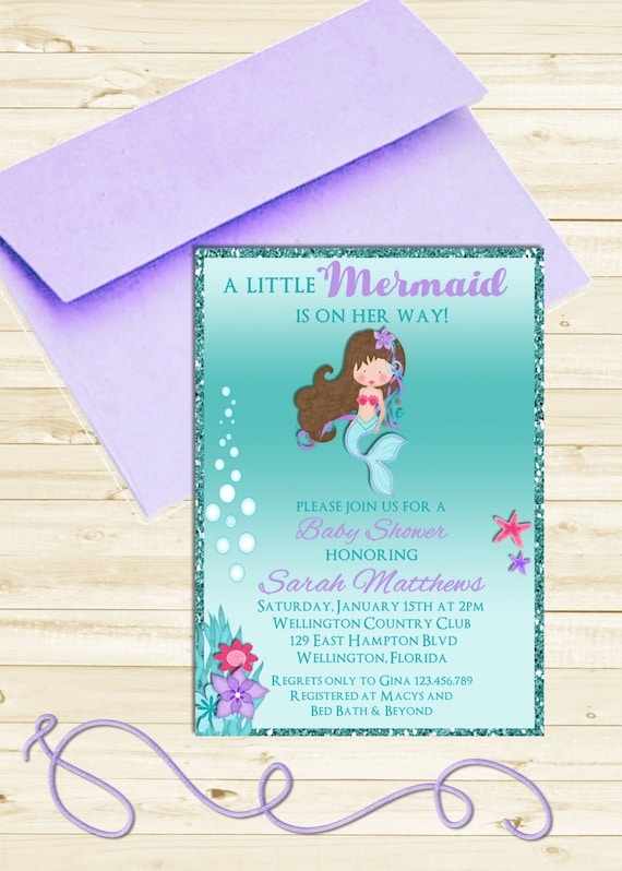 Little Mermaid Baby Shower Invitation -  Glitter Turquoise and Purple Under the Sea Printable Invite