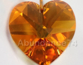 Swarovski Crystal 6228 6202 Faceted Xilion Heart Pendant TOPAZ AB - Available in 10mm and 14mm