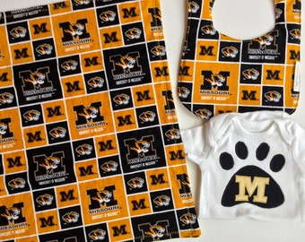 FREE USA Shipping, Mizzou Baby layette, University of Mo college, Columbia Mo, Mizzou baby shower, Missouri Tigers, gold and black