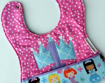 Free USA Shipping, Baby Girls 1st birthday bib, Princess 1st birthday, princess birthday bib, Princess birthday party, baby's first birthday