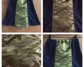 Brocade and Denim Dragonfly Boho Bell Skirt, child size 6