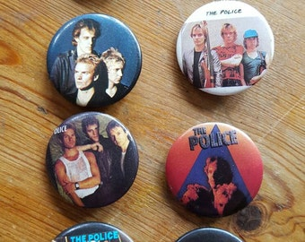 Vintage (8) 1980's Police Band Buttons