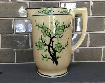 Antique vintage hand painted Moriyama green cherry blossom pitcher