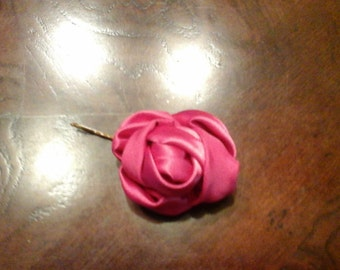Handcrafted Bright Pink Rose with a Bobby pin