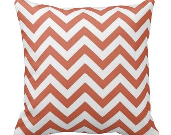 chevron pillows, coral pillow cover, coral white pillow, 16 in pillow, 16 in pillow cover, 16 in coral pillow, coral chevron pillow, 16x16