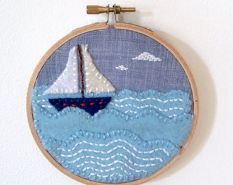 Sailing Ship Felt Wall Art in Embroidery Hoop