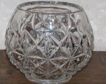 Vintage Lead Crystal Diamond and Star Burst Bowl