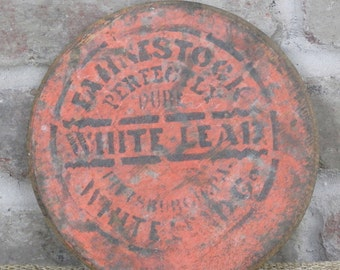 Very Old Wooden Paint Lid Orange Painted Label with Stencil Fahnestock Perfectly Pure White Lead Paint, Pittsburgh, PA Vintage Rustic Decor