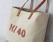 CUSTOMIZED French Knot Stitched Letters... Canvas Bag and Stitch Colors CUSTOMIZABLE