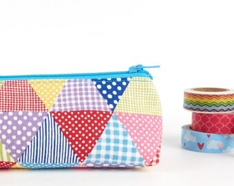 Polka Dot Linen Cute Pencil Case Multi Coloured Fabric Zipper Pouch Small Makeup Bag Teen Gift