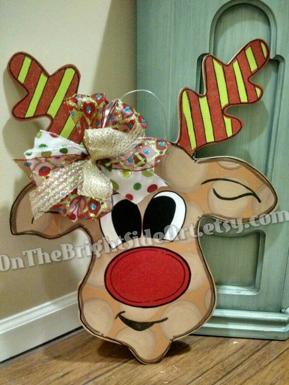 Items Similar To Reindeer Christmas Wooden Door Hanger On Etsy