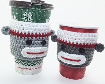 Sock Monkey Cozy, Coffee Cup Cozy, Tea Cup Cozy, Sock Monkey Sleeve, Coffee Cover, Sock Monkey Gift, Tea Cup Sleeve, Crochet Cup Sleeve
