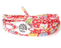 Gift for teen girls, red bracelet with Liberty fabric, meaningful bracelet with tree charm, Japan inspired floral design
