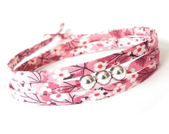 Stocking stuffer gift for tween girls, pretty pink bracelet with silver beads and Liberty fabric, cute jewellery for girls