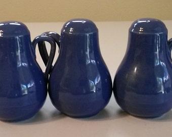 Three (3) Large Salt & Pepper Shakers w/Handles - Cobalt Blue 1940's