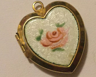 M.A. Gold filled Guilloche Enamel Painted Rose Vintage Locket as is