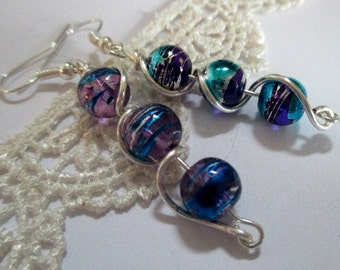 Purple and Blue Wire Wrapped Bead Earrings