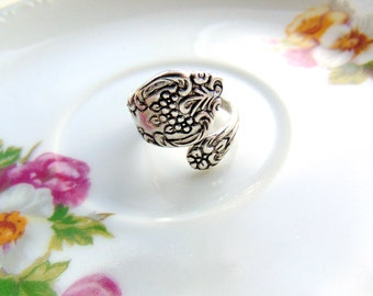 Spoon Floral Wrap Ring Antique Silver Retro Ring Handcrafted by TheTown Tinker