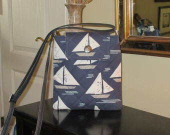 White and Light Gray Sailboat Print on a Navy Background with Front Flap Velcro Closure Quilted Crossbody/Shoulder Bag