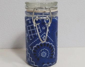 Small Glass Stash Jar : Latch-Top Jar - Blue Bandana