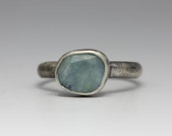 Aquamarine and Sterling Ring, Rose Cut Aquamarine Ring, Freeform Gemstone, Size 7.5