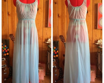 Vintage 60's chiffon night gown slip in baby blue S XS