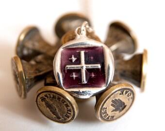 Jerusalem cross necklace, Enamel wax seal jewelry, Fine Silver Necklace