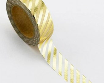 Love My Tapes Foil Washi Tape 15mmx10m -  Foil with Gold Diagonal Lines