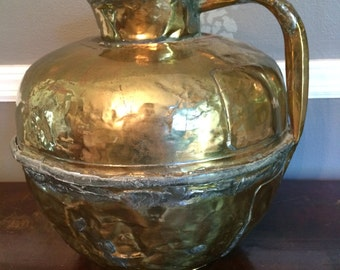 Large Vintage French Brass Pitcher, Jug, Hammered