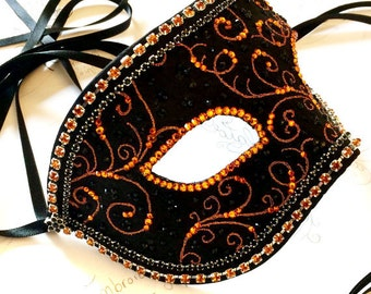 Black & Orange Mens Masquerade Ball Mask