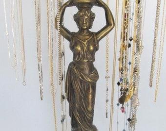 RESERVED -Necklace Holder on Vintage Goddess Base   4 Arms   Necklace Display   Jewelry Holder   Hollywood Regency   Upcycled