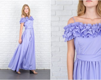 Vintage 70s Purple Ruffle Dress Tiered Maxi Goddess Party Goddess S M 5671 vintage dress purple dress tiered maxi dress goddess dress