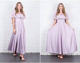 Vintage 70s Lavender Purple Maxi Dress Goddess Cape Sleeves Boho Hippie Small S 5854