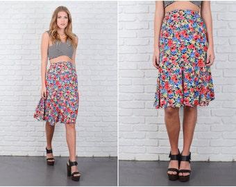 Vintage 80s Red + Blue Retro Skirt High Waist Floral Print Medium M 6300 vintage skirt red skirt blue skirt high waist skirt floral skirt