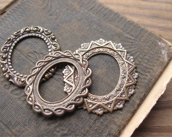 Assorted Brass Ox Oval Decorative Stamped Frames for Jewelry or Assemblage (3)