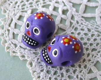 Day of the Dead Skull Beads Purple Peru Handpainted Ceramic Horizontal Hole (2)