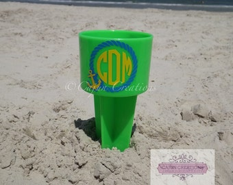 Monogram Beach Spiker, personalized spiker, cup holder, monogramed beach spiker, drink holder for sand, spikers, nautical monogram, anchor