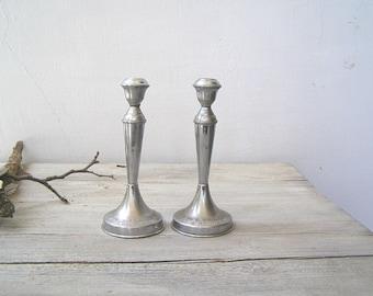 Art Deco Silver Metal Candlestick Holders, Mid century Candle holders, Traditional Judaica Sabbath Candlesticks, Jewish Wedding Gift Decor