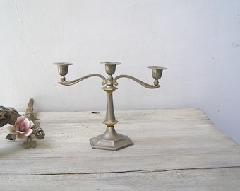 Art Deco 3 Arms Candelabra, Vintage Distressed Silver Gold Plated Candelabra, Mid Century Tableware Centerpiece, Newlywed Wedding Gift Decor