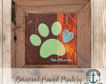 Rescue Paw Print, Green - Framed in Reclaimed Barnwood Pet Decor - Handmade Ready to Hang | Size and Price via Dropdown