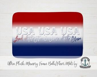"Plush Bath Mat 34x21"" - USA Land of the Free Patriotic American - Plush Memory Foam + Mold Resistant"