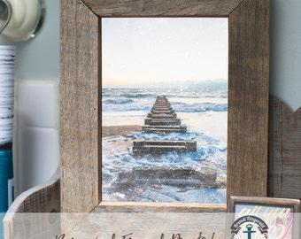 Rehoboth Beach DE - Framed Print in Reclaimed Barnwood Beach House Style - Handmade Ready to Hang | Size & Price via Dropdown