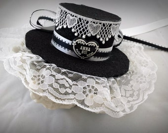 Clearence (10% off) Gothic Lolita Mini Hat - Black Lolita Hat - Lolita Hat