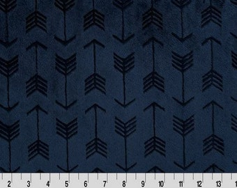 MINKY - Navy Embossed Arrows Cuddle from Shannon Fabrics - Choose Your Cut