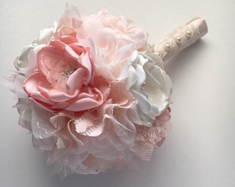 Fabric Flower Bridal Bouquet - Blush Pink and Cream - Medium Size Pictured - Handmade Fabric Flowers, Blush Bouquet, Pink and White Wedding
