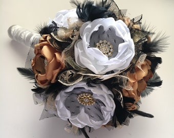 Fabric Flower and Feather Bouquet - Medium Size - Mustard, Pure White, Black and Gold - Wedding Bouquet, Bridal Bouquet, Wedding Flowers