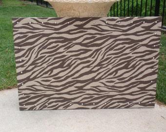 CorkBoard PinBoard Cork Bulletin Pin Fabric Message Board 23x35 Chocolate Brown & Tan Zebra Animal Print Fabric, Shiny Chrome Nail Head Trim