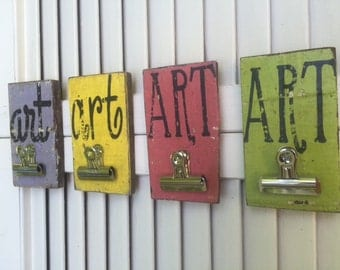 Set of 4 Colorful Clipboard Art Gallery Artwork Signs, Reclaimed Wood, Pink, Purple, Green, Yellow,  Handpainted Distressed Sign